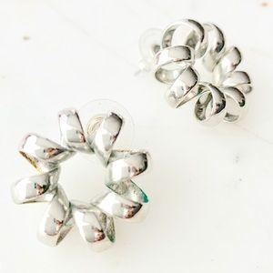 Vintage silver phone cord earrings